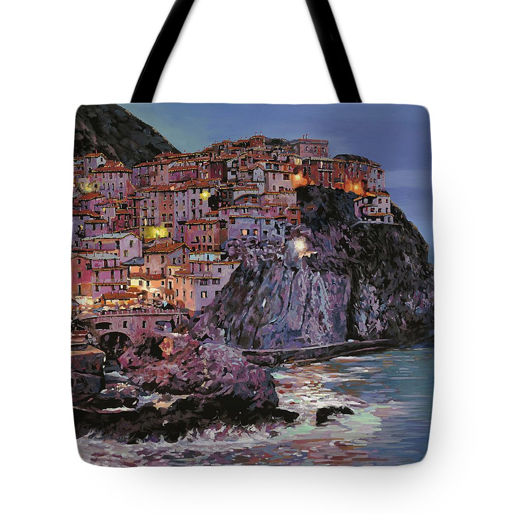 Manarola Tote Bag featuring the painting Manarola al crepuscolo by Guido Borelli