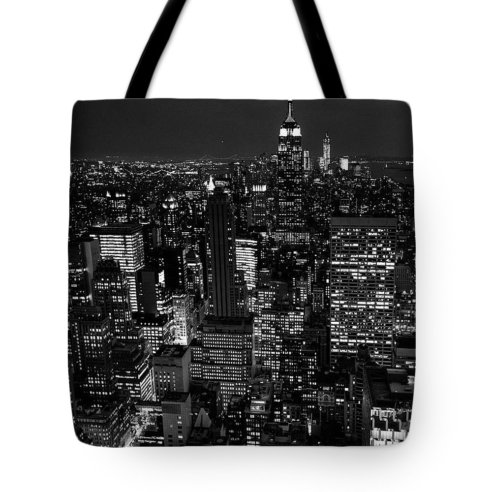Outdoors Tote Bag featuring the photograph Manhattan Skyline At Night, New York by Mike Hill