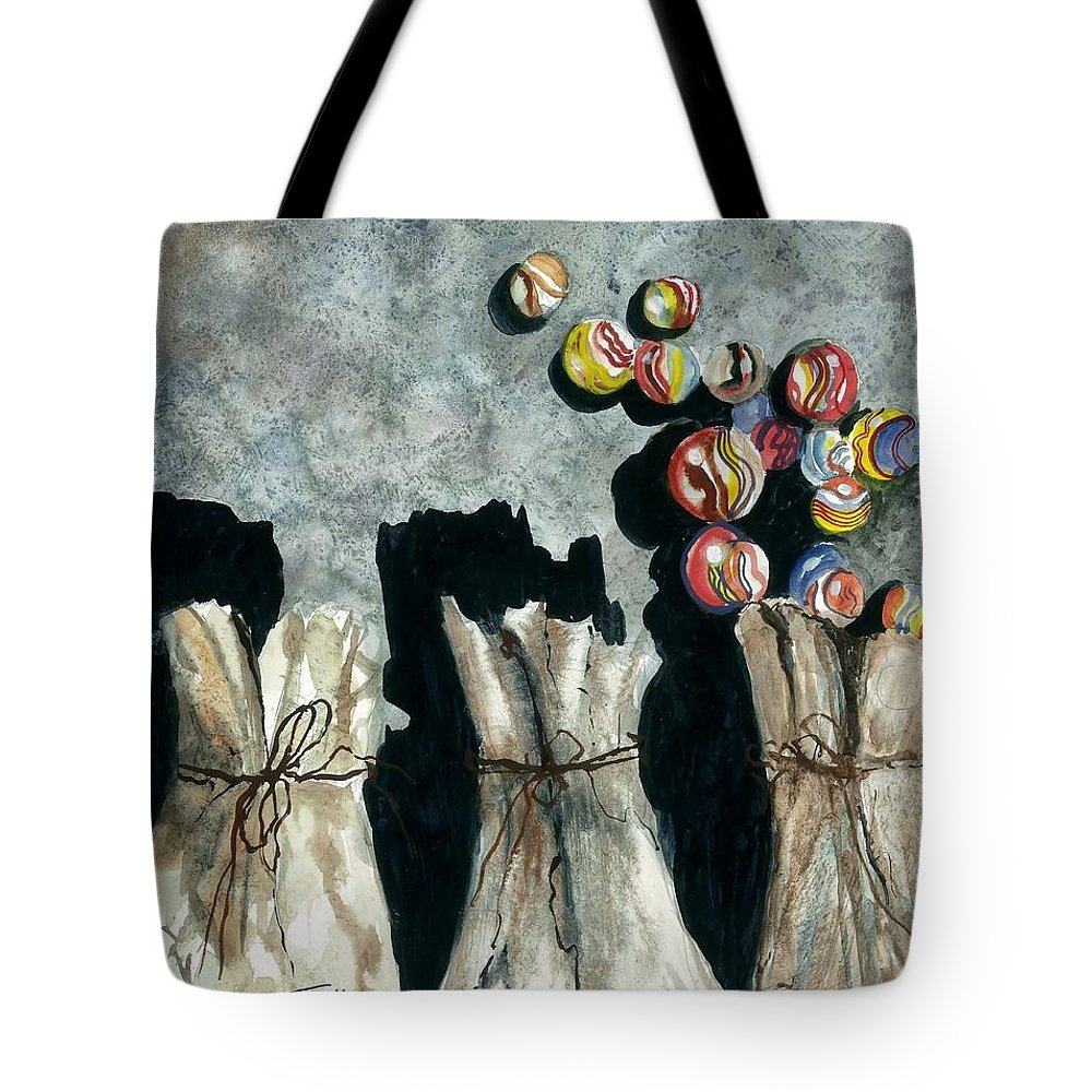 Marble Bags Tote Bag featuring the painting Marble Bags by Steven Schultz