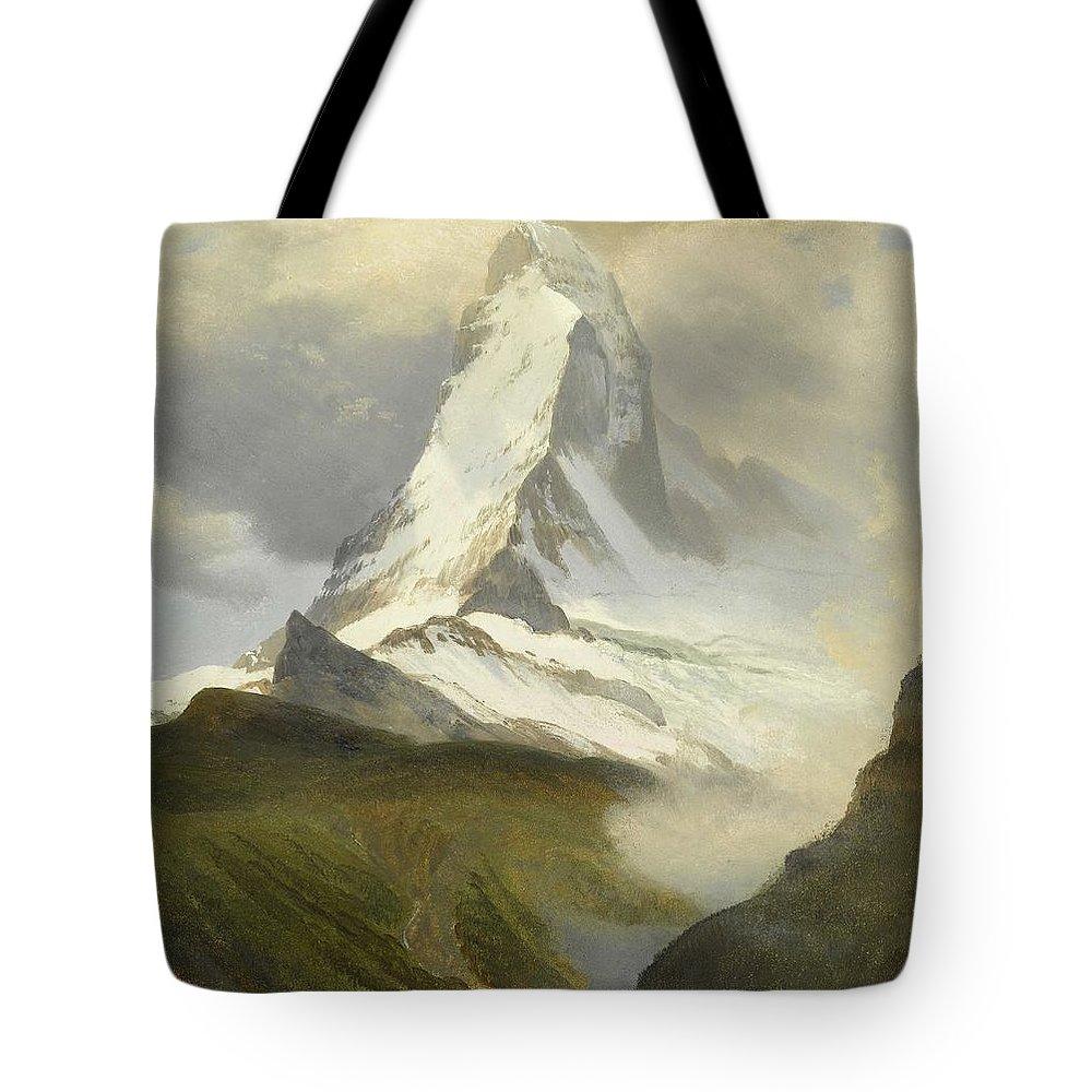 Albert Bierstadt Tote Bag featuring the painting Matterhorn by Celestial Images