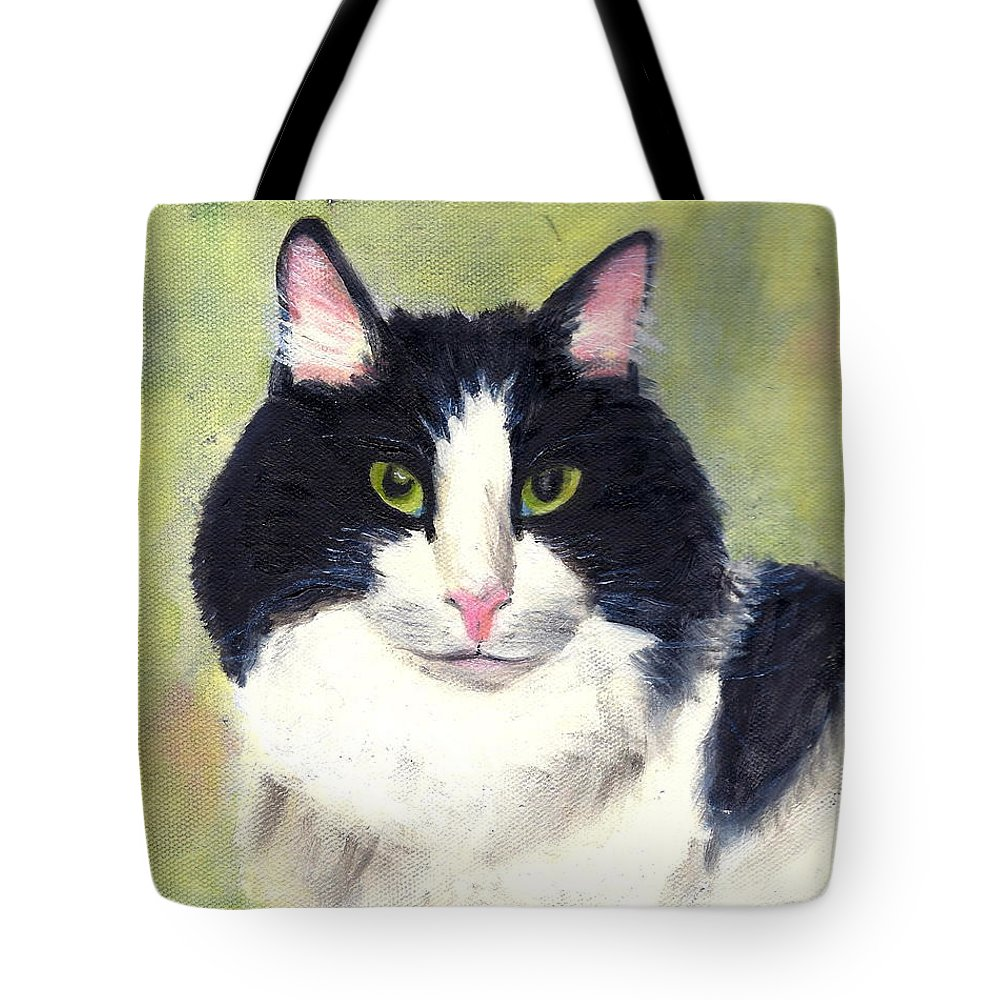 Animal Portrait Tote Bag featuring the painting Matthew by Paula Emery