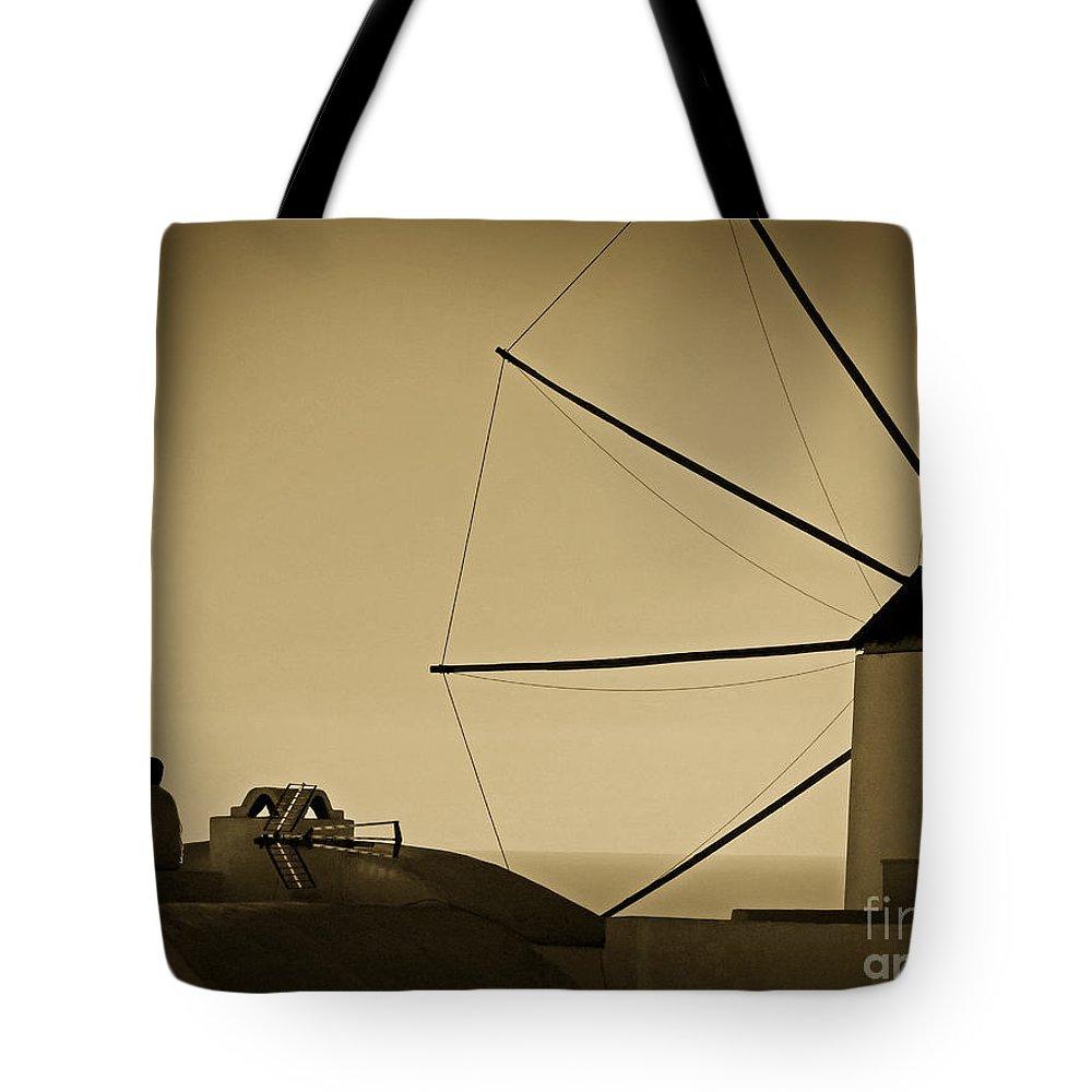 Santorini Tote Bag featuring the photograph Meditation On The Roof by Binka Kirova
