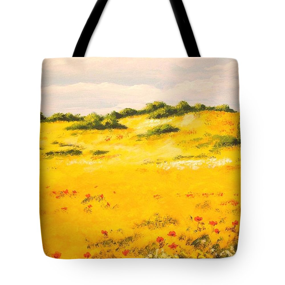 Landscape Tote Bag featuring the painting Mediterranean Landscape by Voros Edit