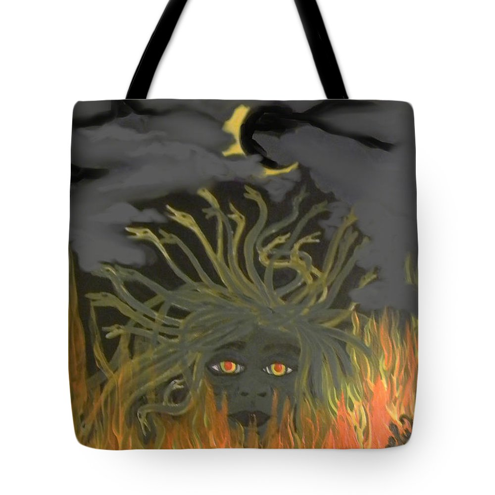 Medusa Tote Bag featuring the painting Medusa by Sara Gravely- Comstock