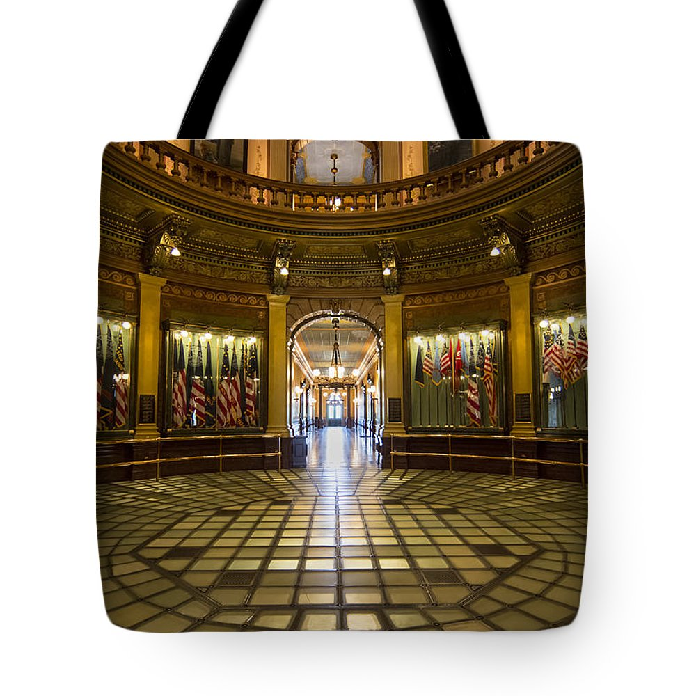 Arches Tote Bag featuring the photograph Michigan Capitol Flag Room by Gej Jones