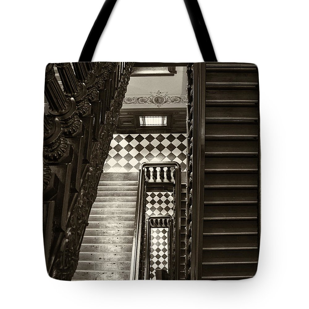 Arches Tote Bag featuring the photograph Michigan Capitol Stairwell by Gej Jones