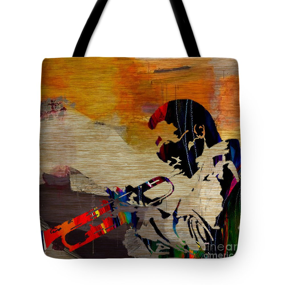 Miles Davis Paintings Tote Bag featuring the mixed media Miles Davis by Marvin Blaine