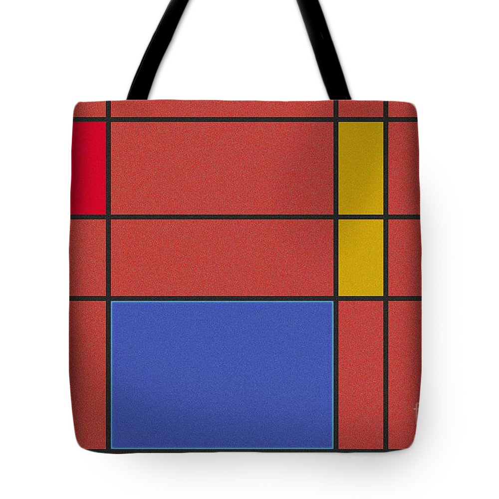 Minimalist Mondrian Tote Bag featuring the digital art Minimalist Mondrian by Celestial Images