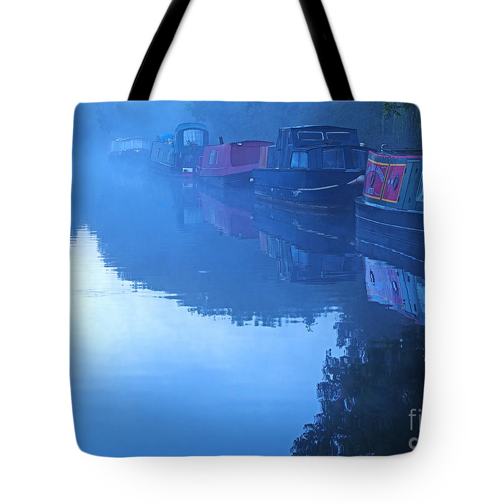 Mist Tote Bag featuring the photograph Misty Morning On The Grand Union Canal by Louise Heusinkveld
