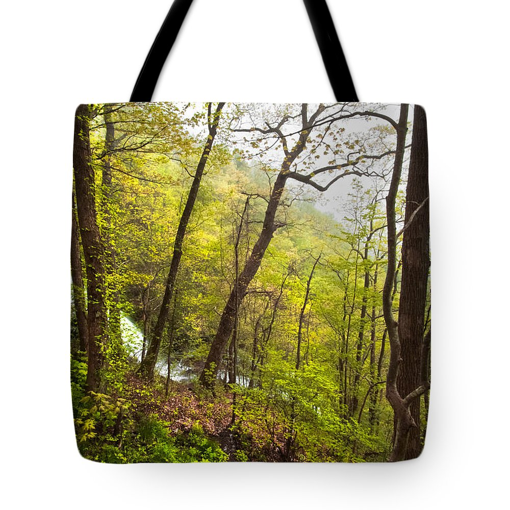 Appalachia Tote Bag featuring the photograph Misty Mountain by Debra and Dave Vanderlaan