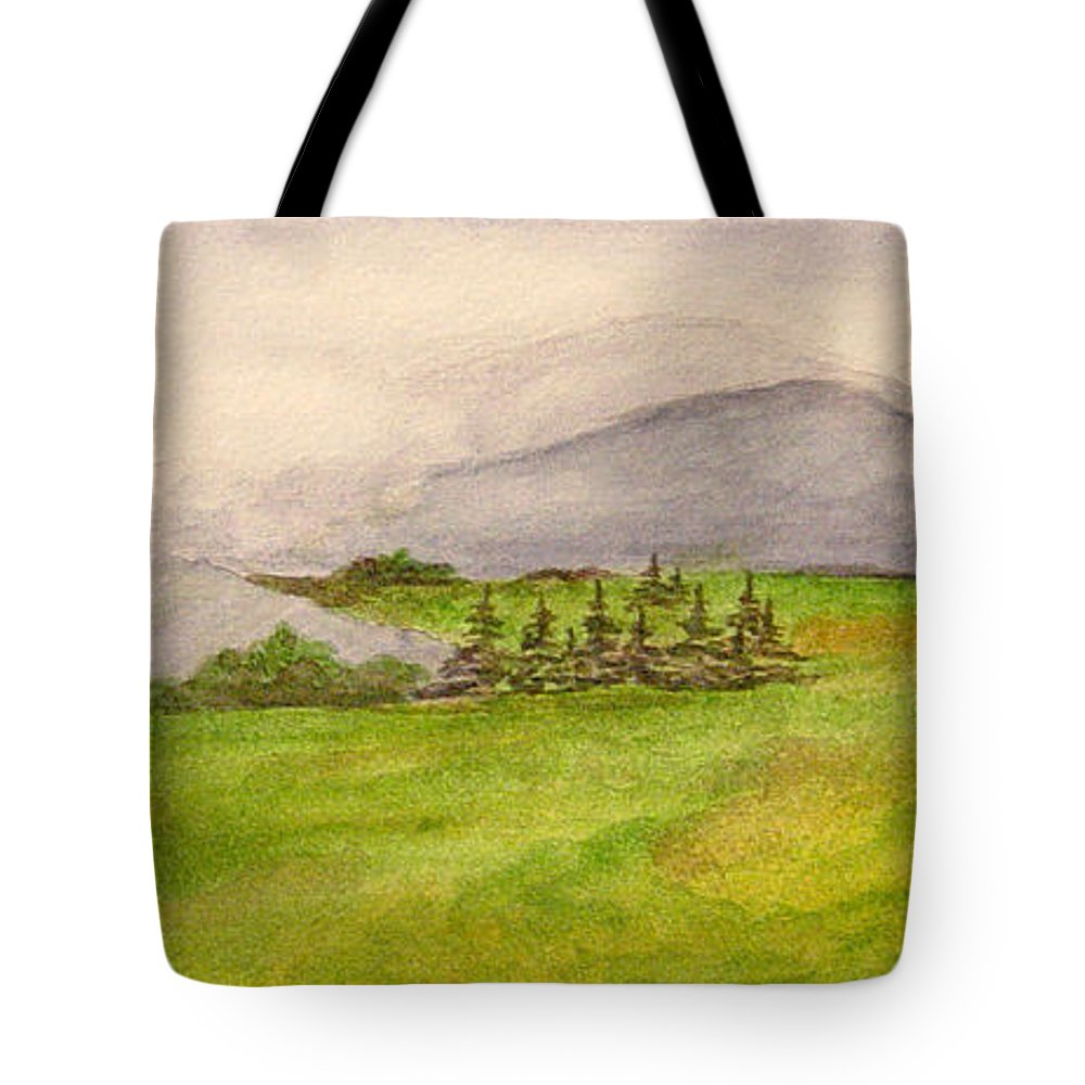 Paintings Tote Bag featuring the painting Morning Fog by Regan J Smith