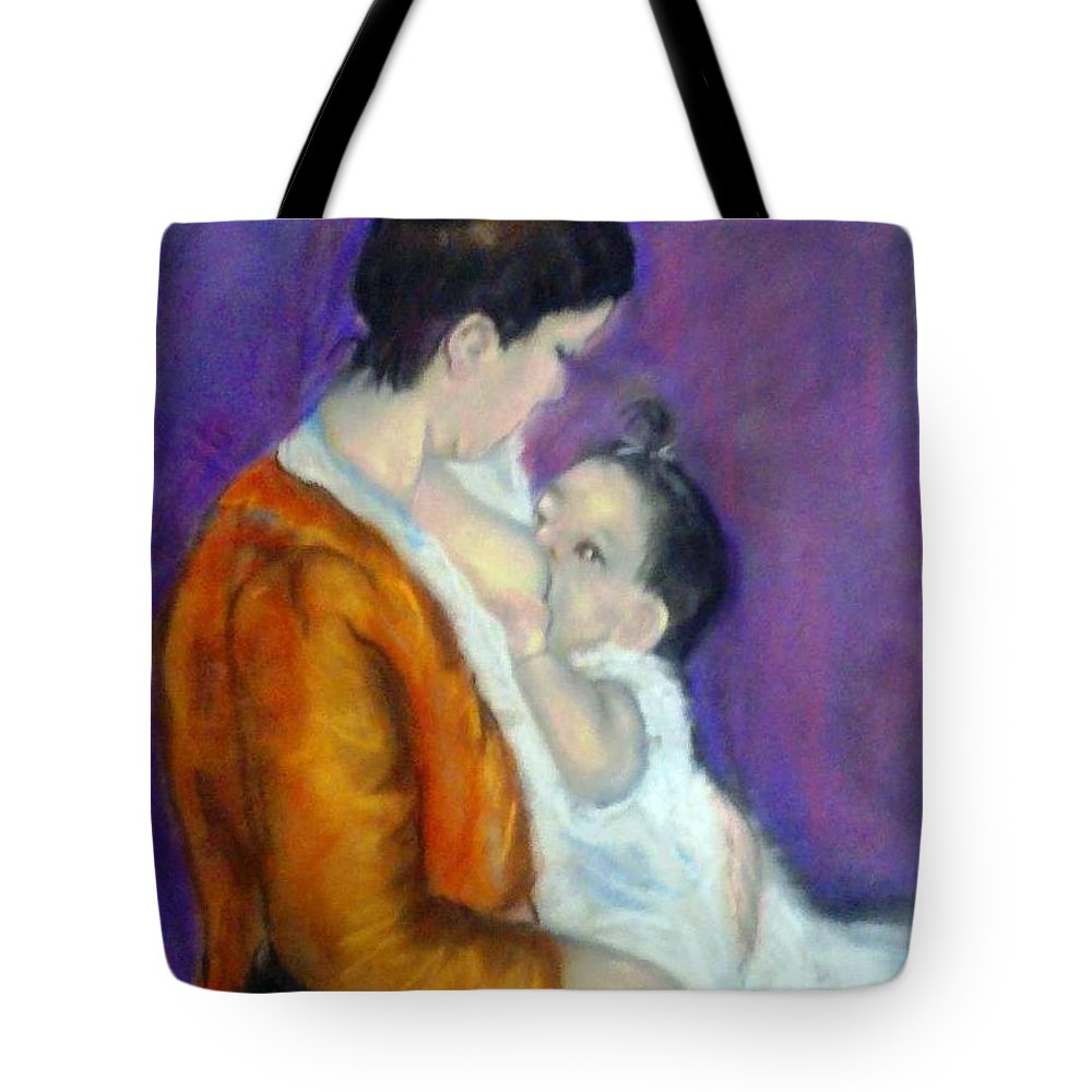 Portrait Of Mother And Baby Tote Bag featuring the painting Mother And Baby by Fineartist Ellen