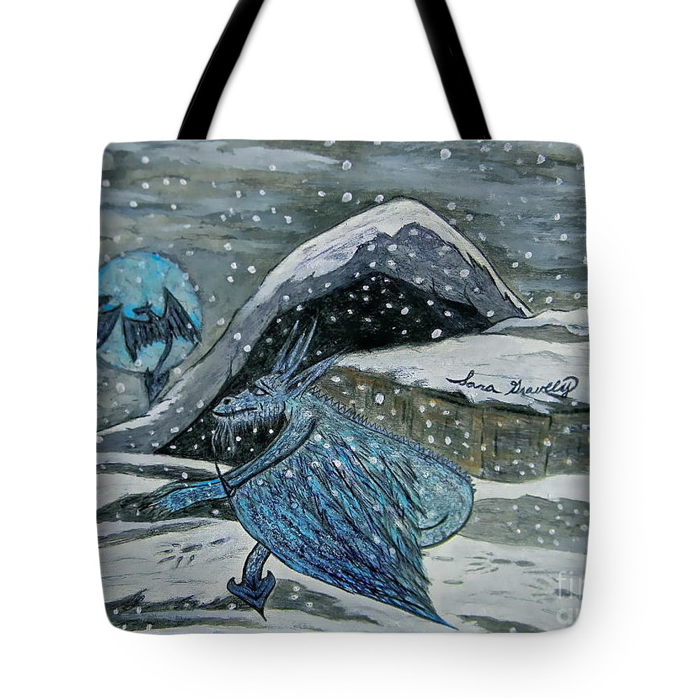 Mother Dragon Tote Bag featuring the painting Mother Dragon by Sara Gravely- Comstock