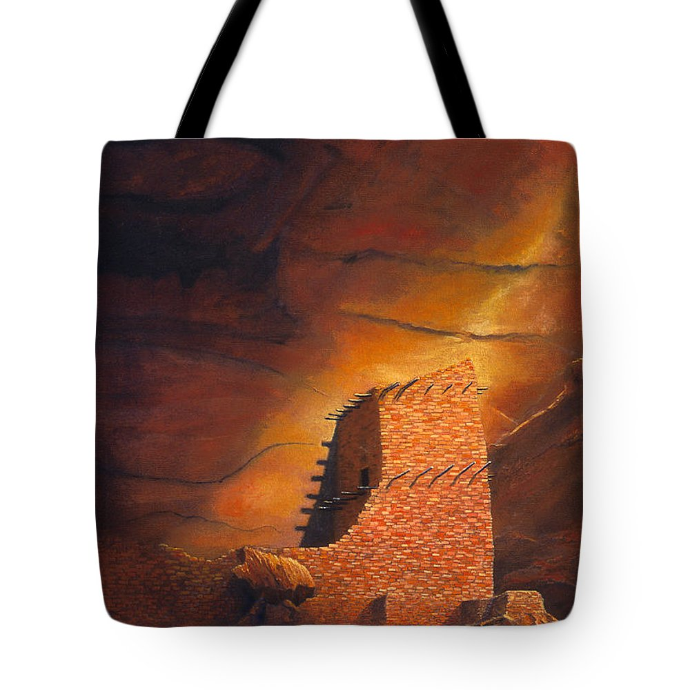 Mummy Cave Ruins Tote Bag featuring the painting Mummy Cave Ruins by Jerry McElroy