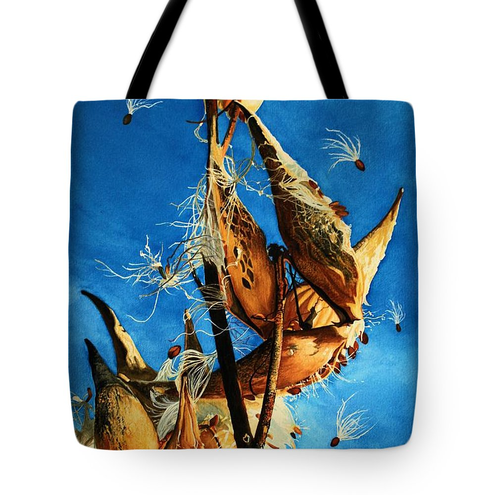 Barbara Jewell Tote Bag featuring the painting Nature's Launch Pad by Barbara Jewell