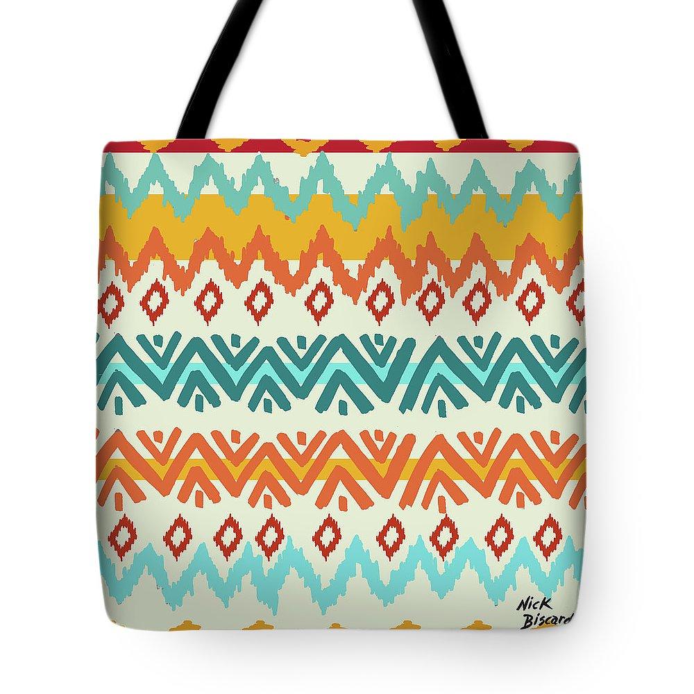 Navajo Tote Bag featuring the digital art Navajo Mission Round by Nicholas Biscardi