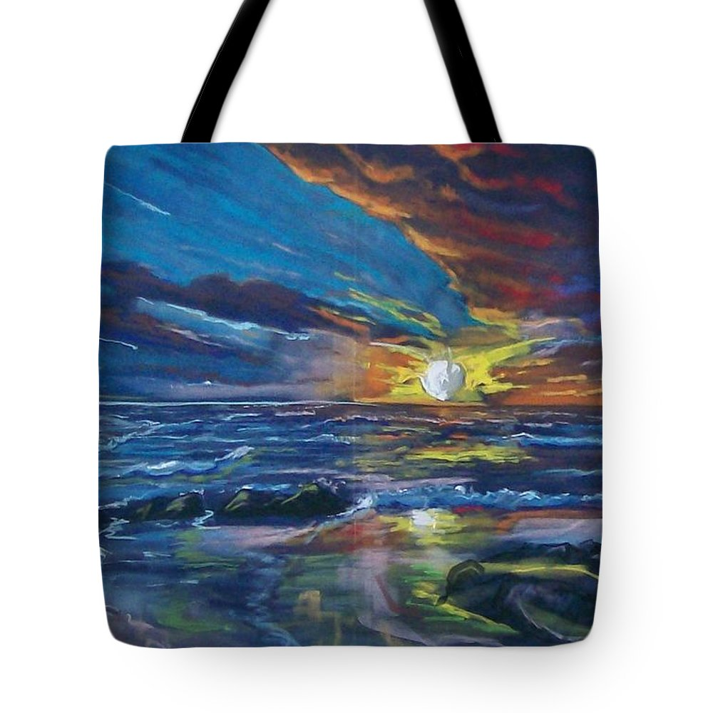 Seascape Tote Bag featuring the pastel Never Ending Sea by Peter Suhocke