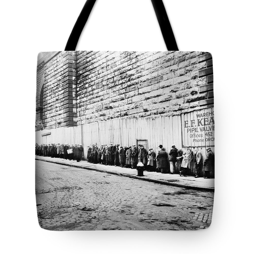 1930 Tote Bag featuring the photograph New York City Bread Line by Granger