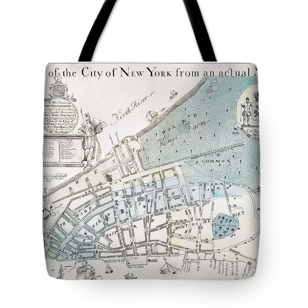 1728 Tote Bag featuring the photograph New York City Map, 1728 by Granger