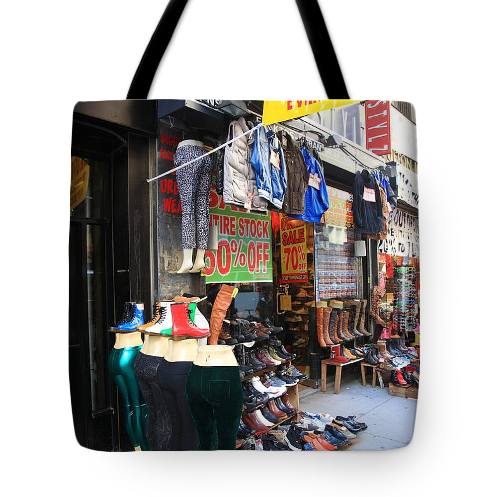 America Tote Bag featuring the photograph New York City Storefront 8 by Frank Romeo
