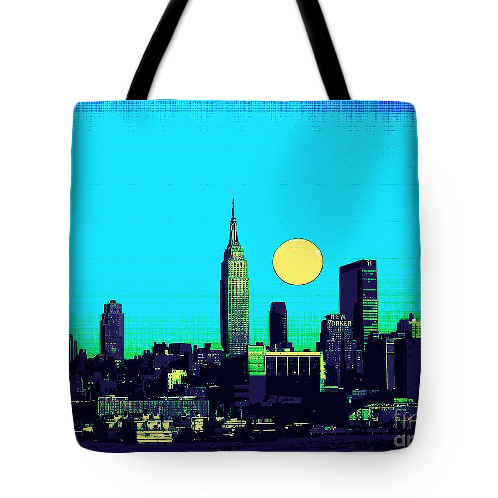 Skyline Tote Bag featuring the mixed media New York Skyline by Celestial Images