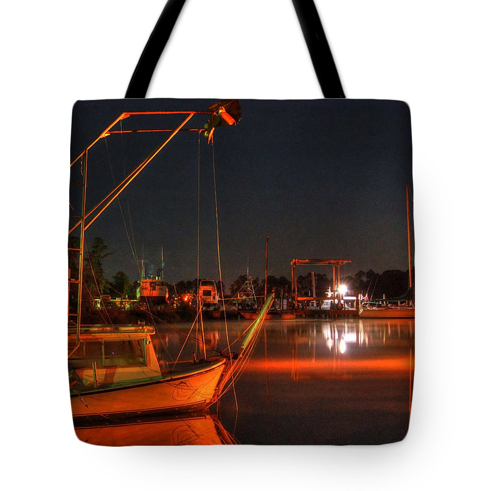 Palm Tote Bag featuring the digital art Night In The Harbor by Michael Thomas