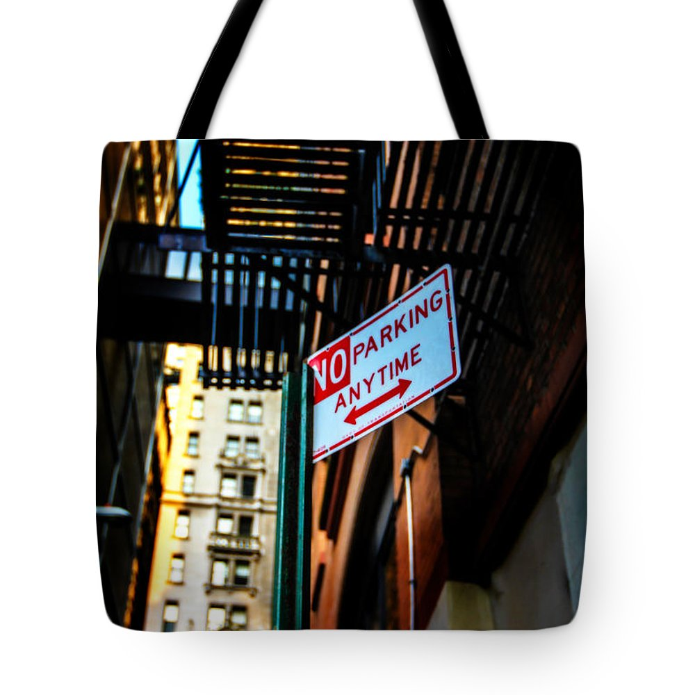 Streets Of New York Tote Bag featuring the photograph No Parking by Digital Kulprits
