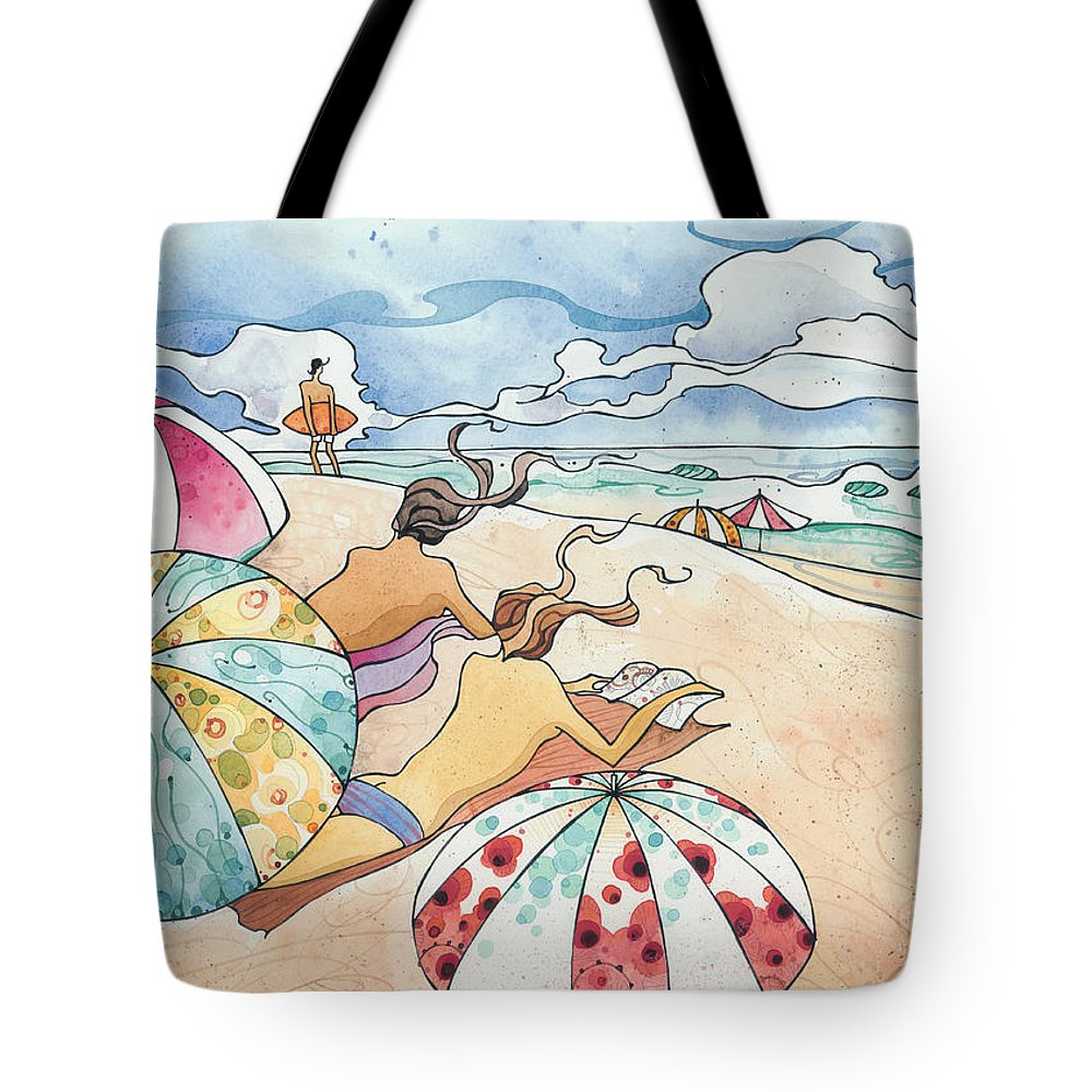 Fine Art Tote Bag featuring the painting Noosa Ninnies by Harry Holiday