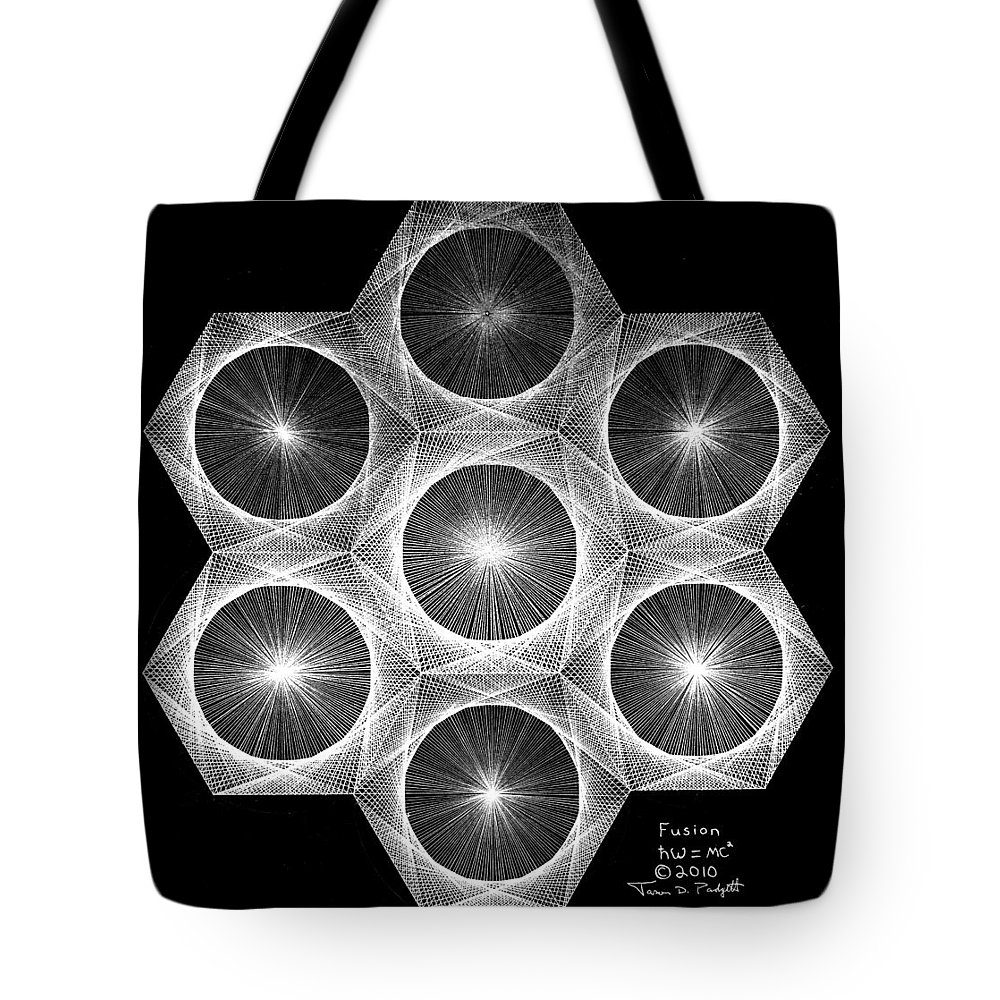 Fractal Tote Bag featuring the drawing Nuclear Fusion by Jason Padgett