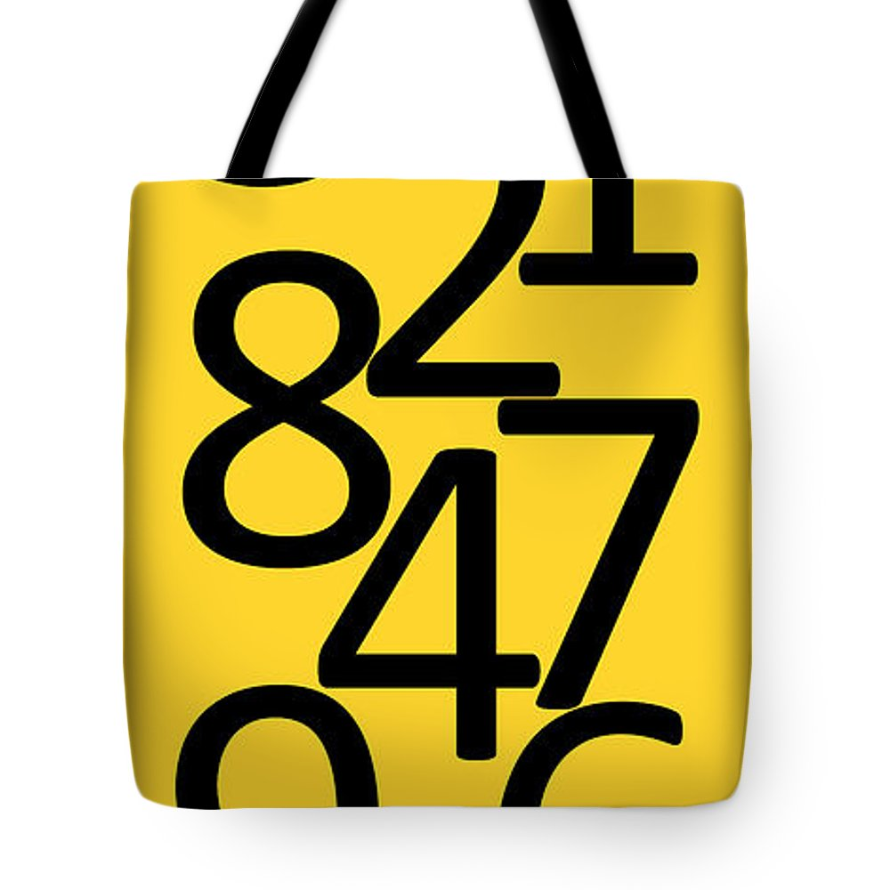 Numbers Tote Bag featuring the digital art Numbers In Black And Yellow by Jackie Farnsworth