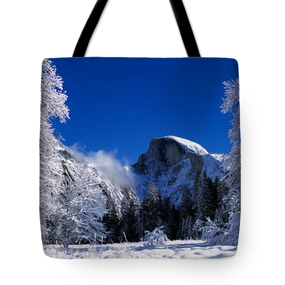 Photography Tote Bag featuring the photograph Oak Trees And Rock Formations Covered by Panoramic Images