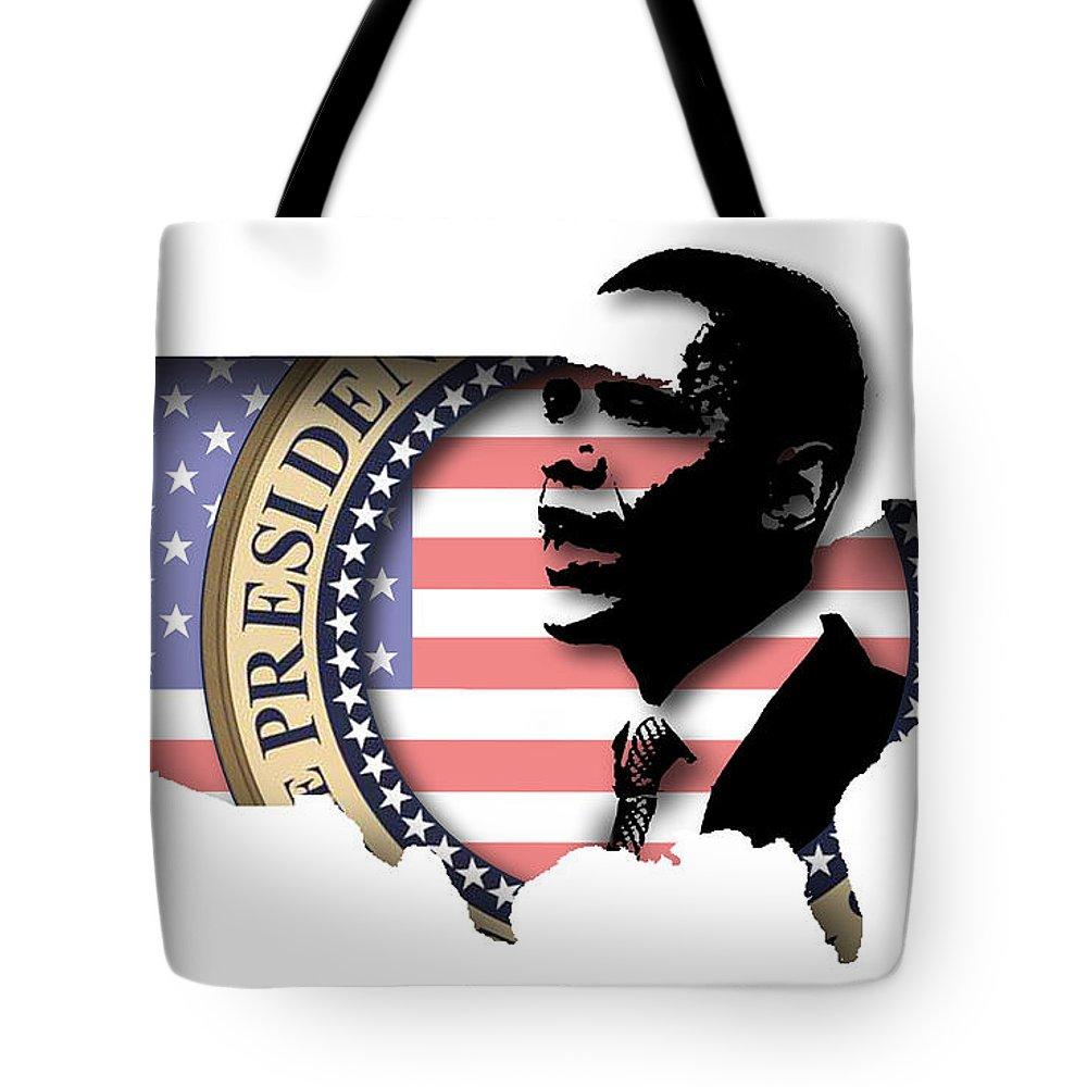 Obama Tote Bag featuring the digital art Obama-2 by Chris Van Es
