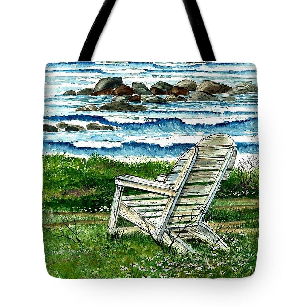 Ocean Chair Tote Bag featuring the painting Ocean Chair by Steven Schultz