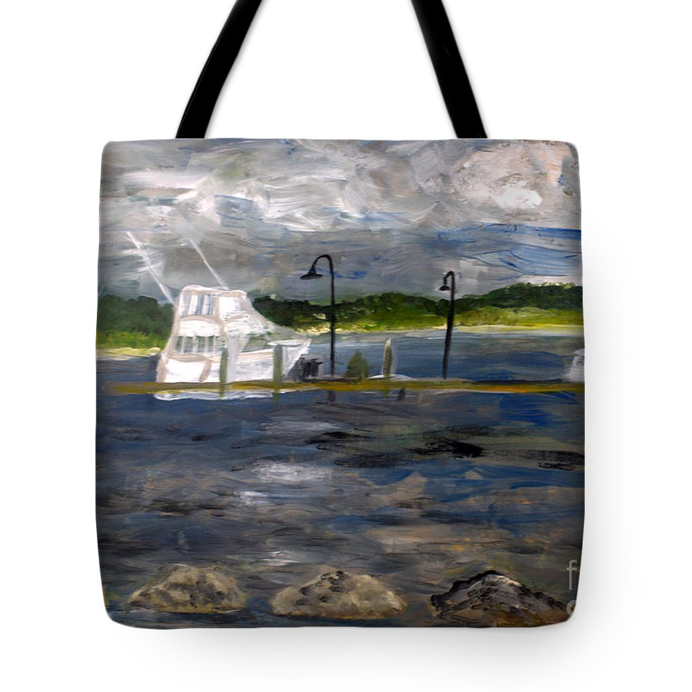 Boat Tote Bag featuring the painting Ocean Inlet Marina by Donna Walsh