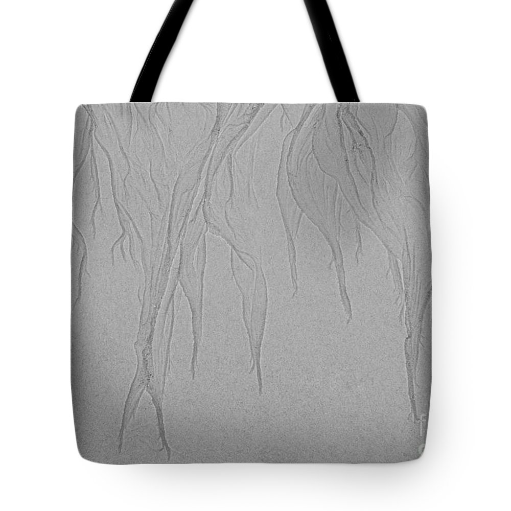 Iris Holzer Richardson Tote Bag featuring the photograph Ocean Sand Art Design From Top by Iris Richardson