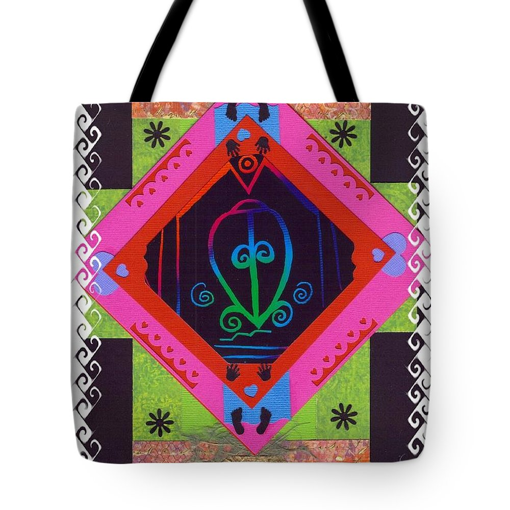Adinkra Symbol Tote Bag featuring the mixed media Odo Nyera Fie Kwan--- Love Does Not Get Lost On The Way Home by Rochleigh Z Wholfe