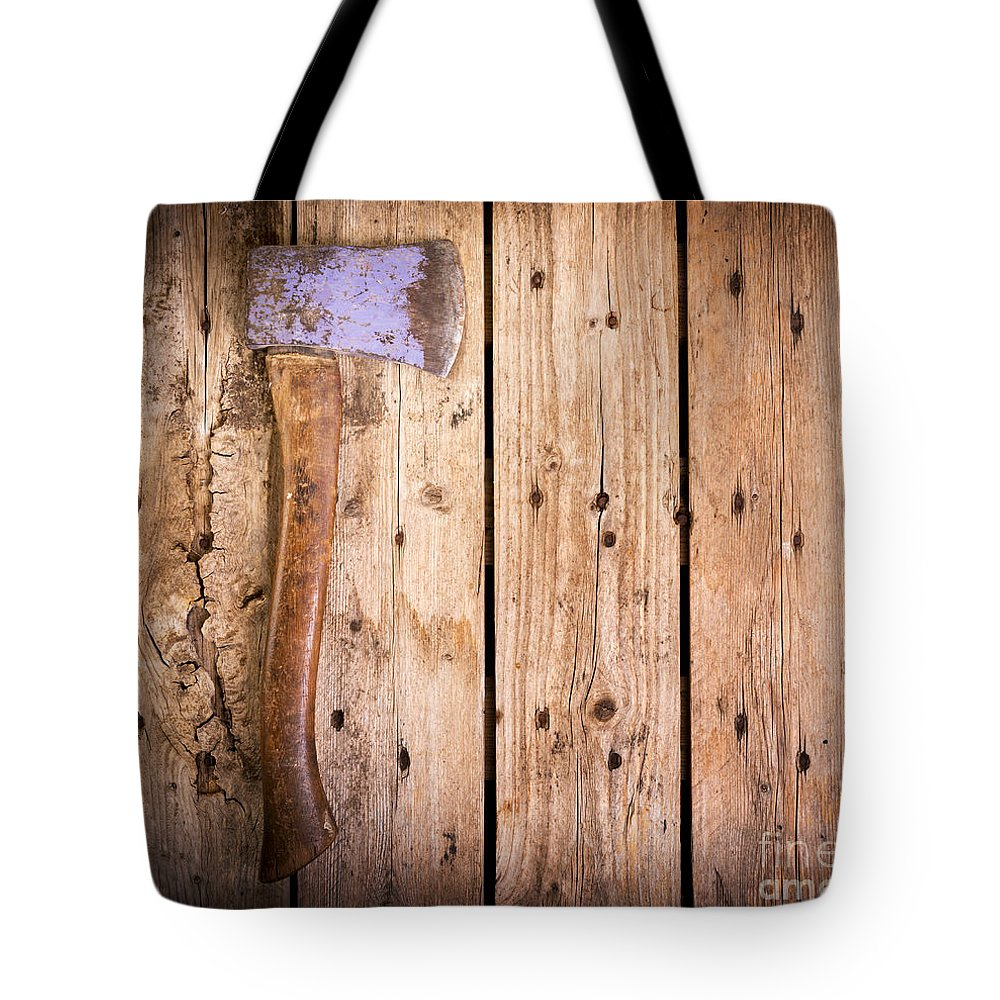 Axe Tote Bag featuring the photograph Old Axe by Tim Hester
