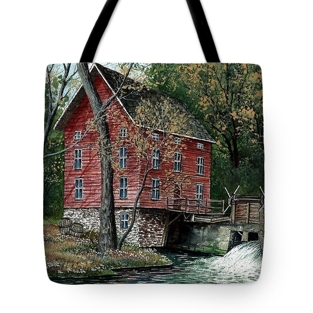 River Mill Tote Bag featuring the painting Old Time Mill by Steven Schultz