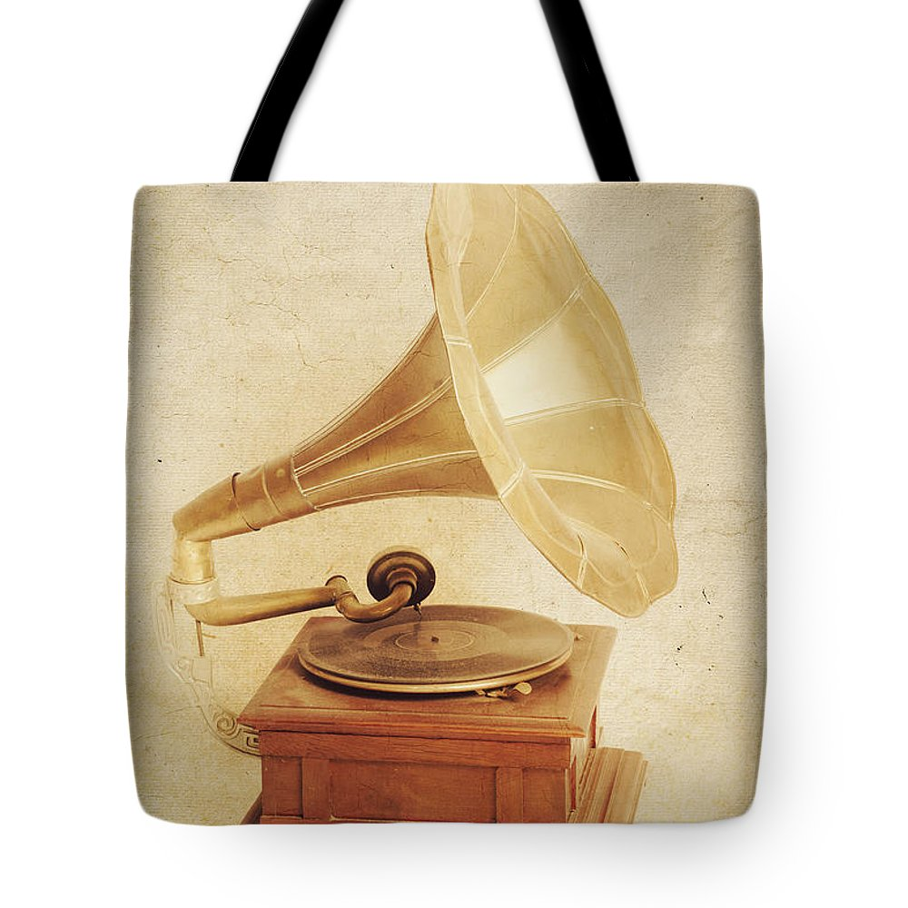 Old Vintage Gold Gramophone Photo. Classical Sound Tote Bag for Sale ...
