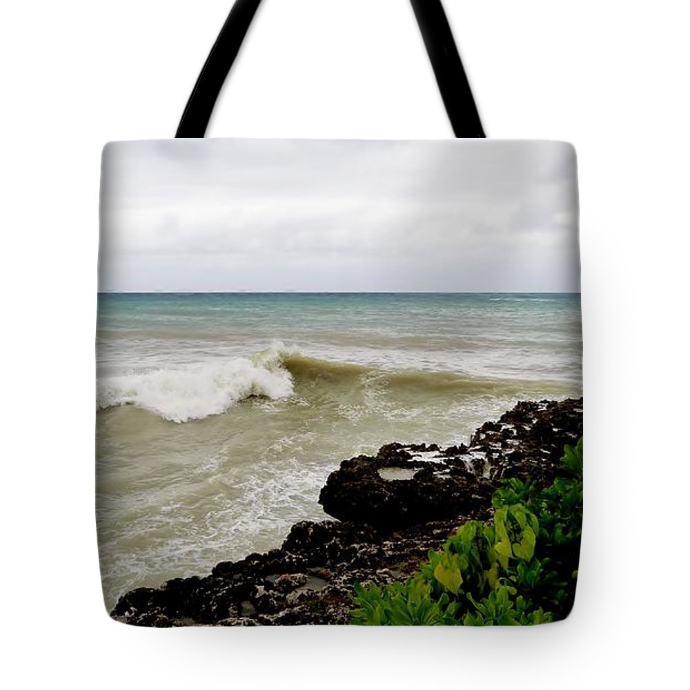 Stormy Sea From Shore Tote Bag featuring the photograph On Shore by Amar Sheow