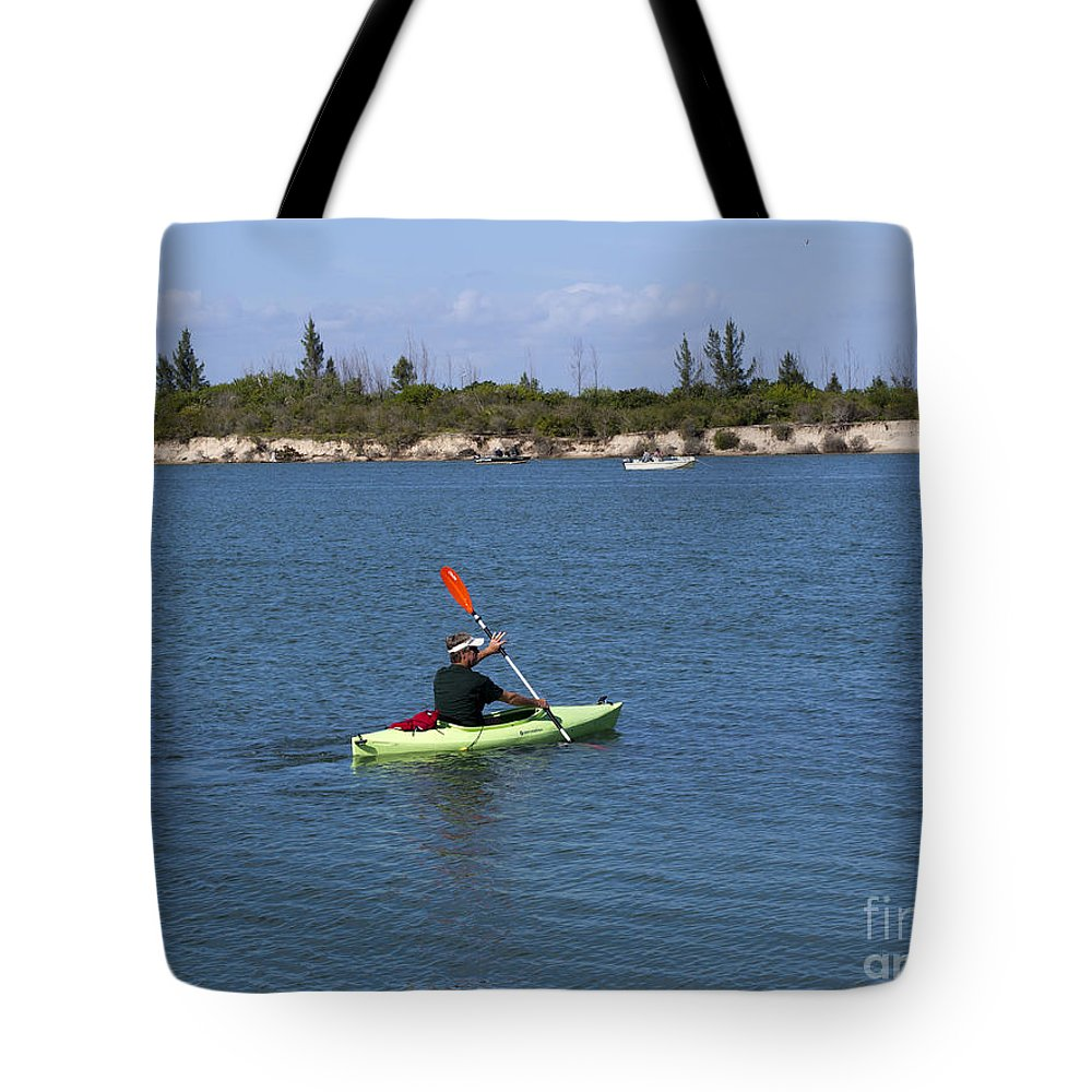 Kayak Tote Bag featuring the photograph Opening Day For Snook Fishing At Sebastian Inlet In Florida by Allan Hughes