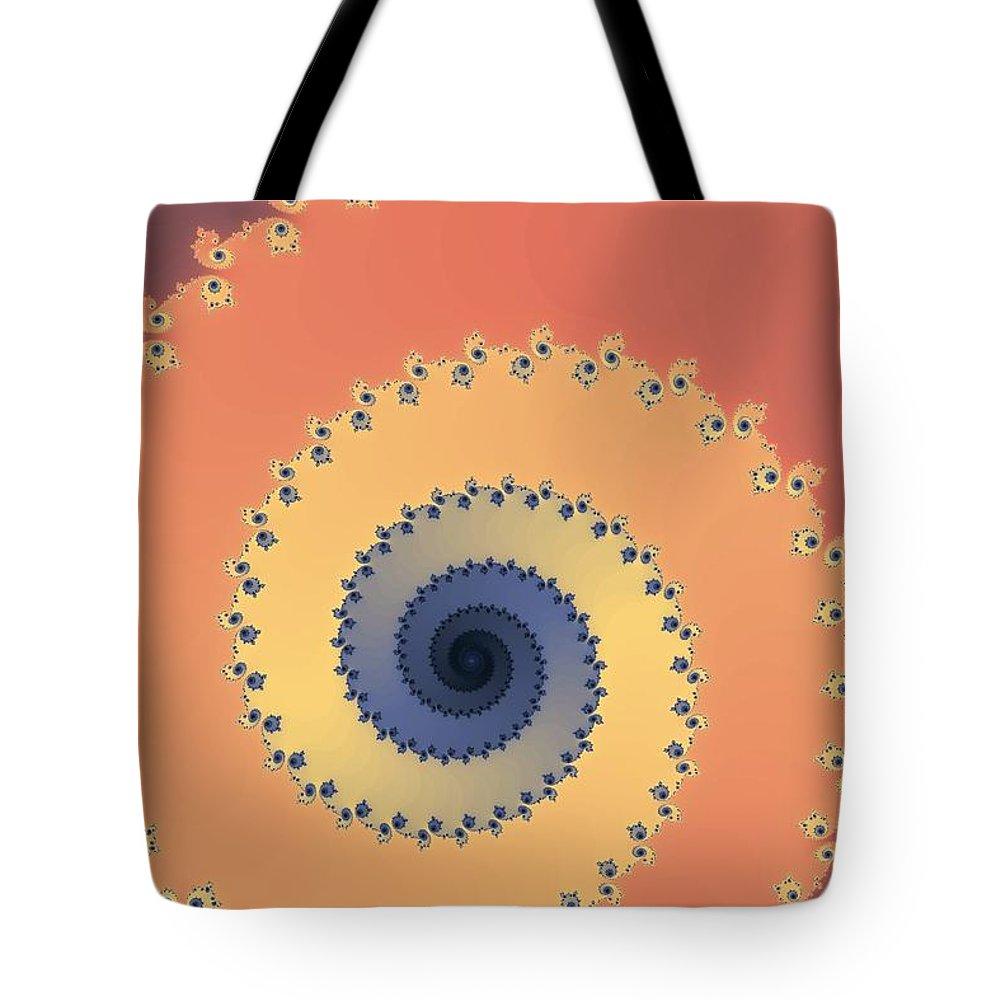 Fractal Tote Bag featuring the digital art Orange Fractal by Henrik Lehnerer