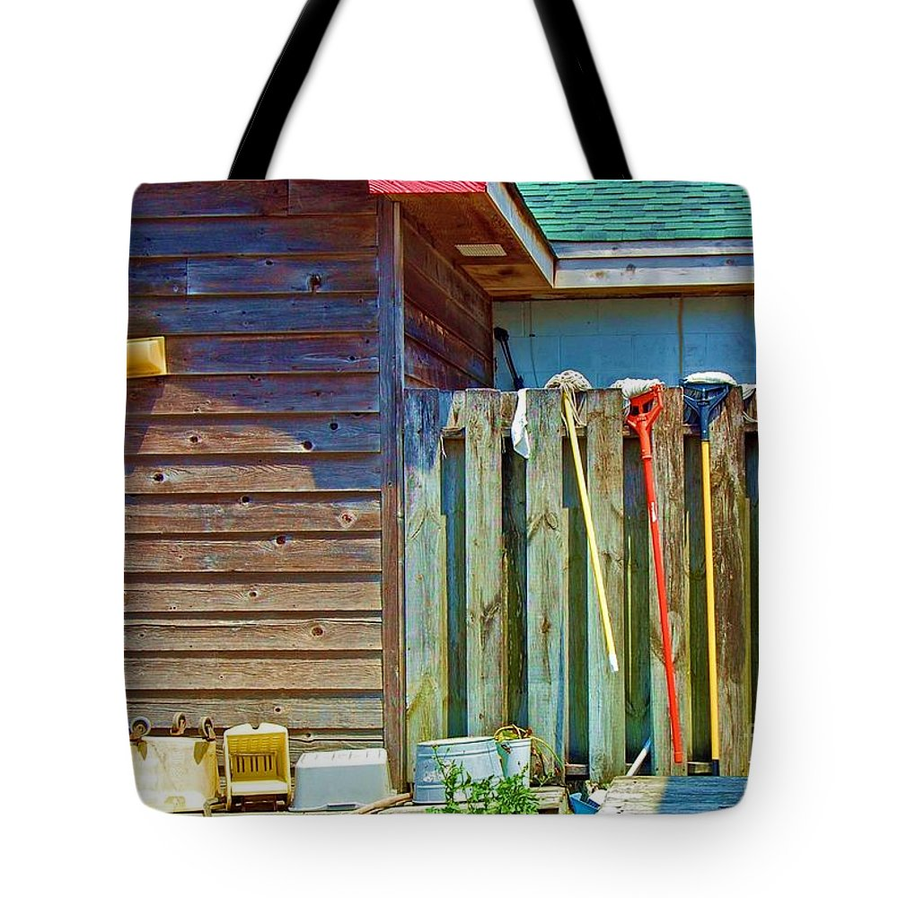 Building Tote Bag featuring the photograph Out To Dry by Debbi Granruth