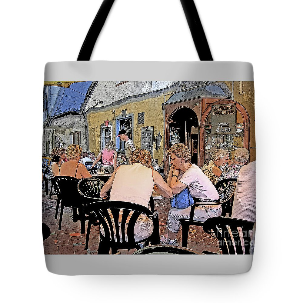 Austria Tote Bag featuring the photograph Outside Seating by Ann Horn