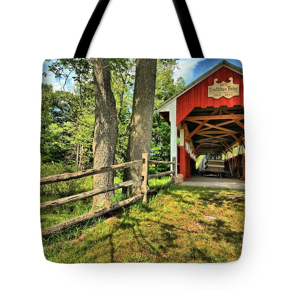 Covered Bridge Tote Bag featuring the photograph Overgrown by Adam Jewell
