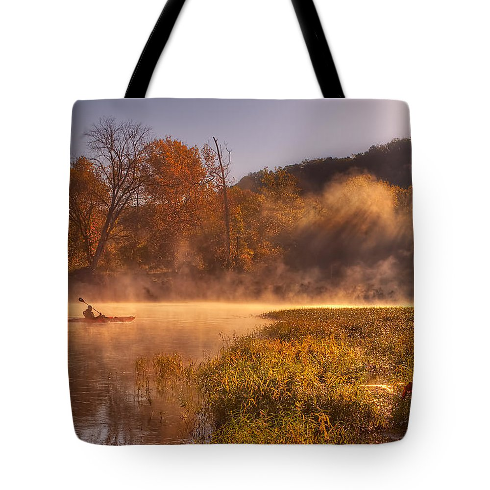 2013 Tote Bag featuring the photograph Paddling In Mist by Robert Charity
