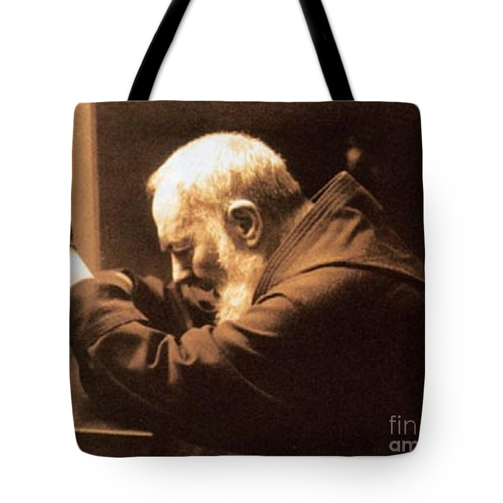 Prayer Tote Bag featuring the photograph Padre Pio by Archangelus Gallery