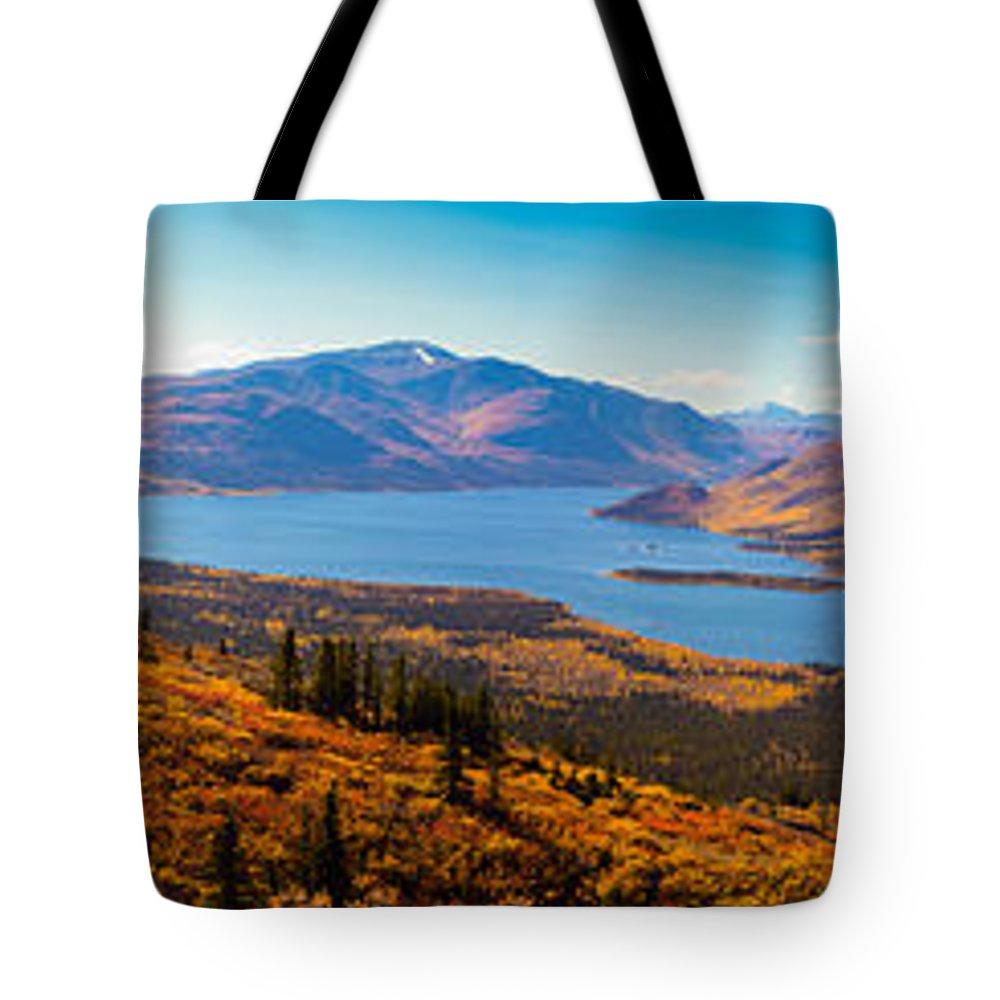 Adventure Tote Bag featuring the photograph Panorama Of Fish Lake Yukon Territory Canada by Stephan Pietzko