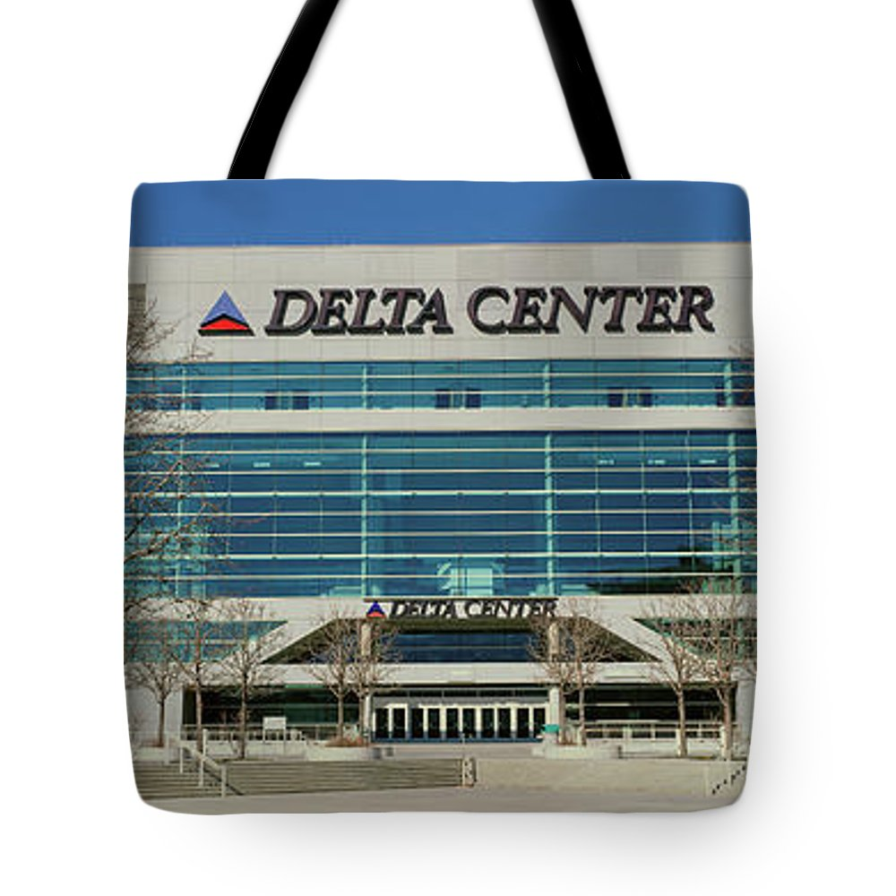 Photography Tote Bag featuring the photograph Panoramic Of Delta Center Building by Panoramic Images