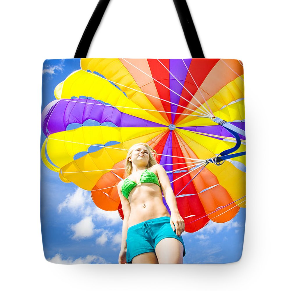 Activity Tote Bag featuring the photograph Parasailing On Summer Vacation by Jorgo Photography - Wall Art Gallery